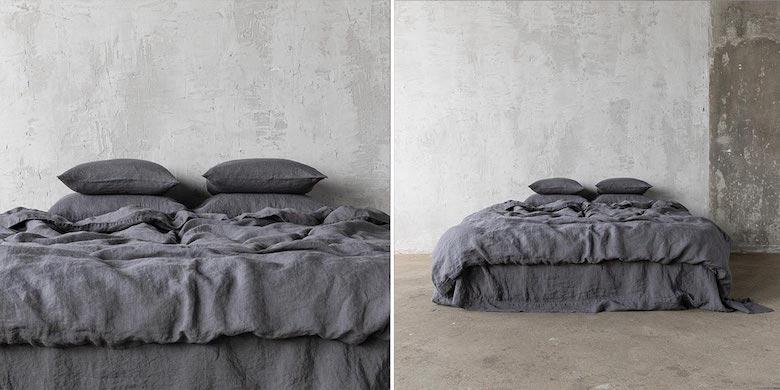 Ropa-de-cama-de-lino-gris