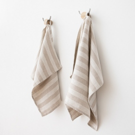 Toallas de Invitadoss de Lino Natural Striped Lucas