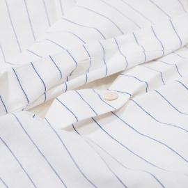 Edredon de Lino y Algodón White Blue Striped