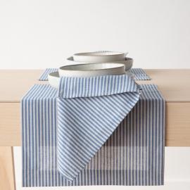 Mantel Individual de Lino y Algodón Blue Striped Jazz