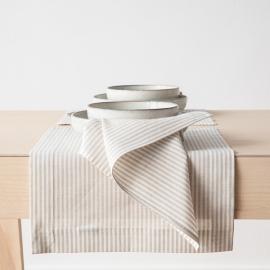 Mantel Individual de Lino y Algodón Beige Striped Jazz