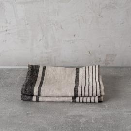 Mano Toallas de Lino Natural Black Striped Provence
