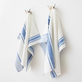 Mano Toallas de Lino Blanco Azul  Tuscany