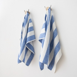 Mano Toallas de Lino Blanco Azul  Philippe