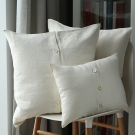 Funda de Almohada Decorativo de Lino Cream Lara