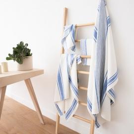 Conjunto de Toallas de Lino Blanco Azul  Tuscany