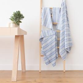 Conjunto de Toallas de Lino Azul Blanco Multistripe