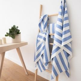 Conjunto de Toallas de Lino Blanco Azul  Philippe