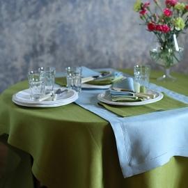 Mantel de Lino Rainforest Green Emilia
