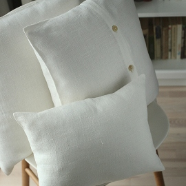 White Linen Decor Pillow Case Lara