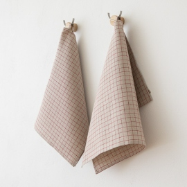 Set of 2 Aubergine Linen Tea Towels Lara