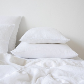 Funda de Almohada de Lino Optical White Stone Washed
