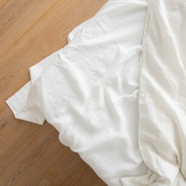 Sábana Bajera Ajustada de Lino Off White Stone Washed