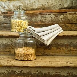 Paños de Cocina de Lino Natural Off White Pinstripe