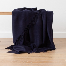 Navy Baby Alpaca Throw Bella