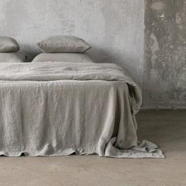 Taupe Sábana Bajera Ajustada de Lino Stone Washed