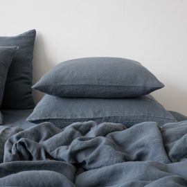 Funda de Almohada de Lino Blue Stone Washed