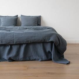 Sábana Bajera Ajustada de Lino Blue Stone Washed