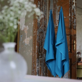Toalla de Baño de Lino Turquoise Huckaback Lara