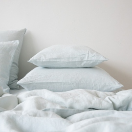 Funda de Almohada de Lino Ice Blue Stone Washed