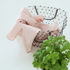 Conjunto de 2 Paños de Cocina fabricados en Lino, Rosa, Stone washed