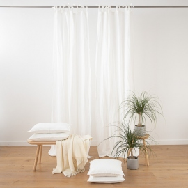 Blanco óptico Cortina con Lazos de Lino Stone Washed