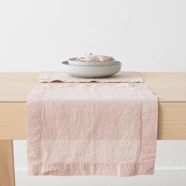 Mantel Individual de Lino Rosa Stone Washed