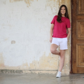 Pantalones Cortos de Lino Optical White Toby