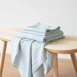 Conjunto de Toallas de Lino Ice Blue Waffle Washed