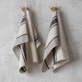 Paños de Cocina de Lino Natural Black Striped Provence