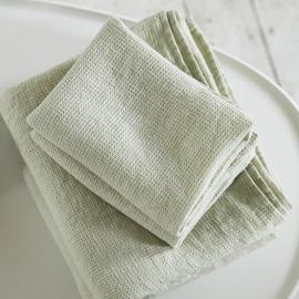 Conjunto de Toallas de Lino Aloe Green Waffle Washed