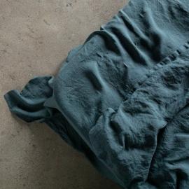Balsam Verde Sábana Bajera Ajustada de Lino Stone Washed