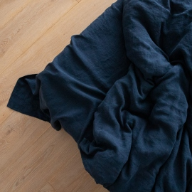 Sábana Bajera Ajustada de Lino Navy Blue Stone Washed