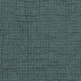 Balsam Green  Linen Waffle Fabric Washed