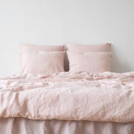 Conjunto de Cama de Lino Rosa Stone Washed