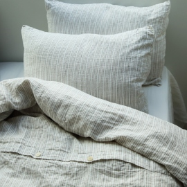 Funda de Almohada de Lino Natural White Multistripe Washed