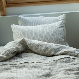 Funda de Almohada de Lino Natural White Multistripe Washed