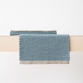 Mantelas de Individual Tejido a Mano de Lino Stone Blue Lara
