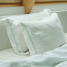 Funda de Almohada de Lino White Mint Piping