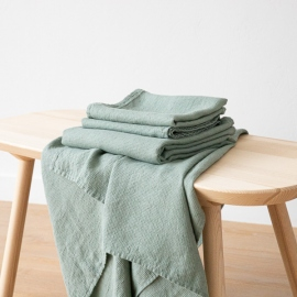 Conjunto de Toallas de Lino Spa Green Waffle Washed