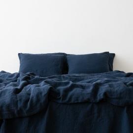 Conjunto de Cama de Lino Navy Blue Stone Washed