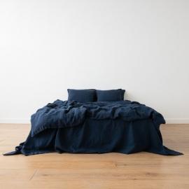 Navy Blue Conjunto de Cama de Lino Stone Washed