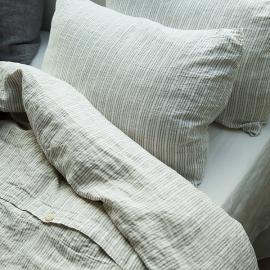 Conjunto de Cama de Lino Natural White  Multistripe