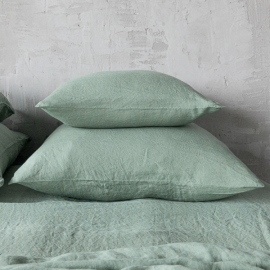 Funda de Almohada de Lino Spa Green Stone Washed