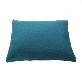 Funda de Almohada de Lino Marine Blue Stone Washed