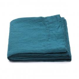 Sábana Bajera Ajustada de Lino Marine Blue Stone Washed