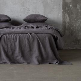 Steel Gris Sábana Bajera Ajustada de Lino Stone Washed