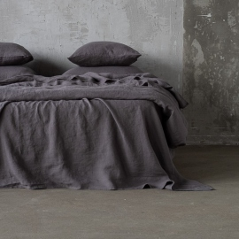 Steel Gris Funda de Almohada de Lino Stone Washed