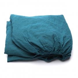 Marine Blue Sábana Encimera de Lino Stone Washed
