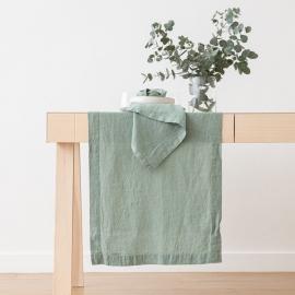 Servilleta de lino Spa Green Terra con flecos hechos a mano